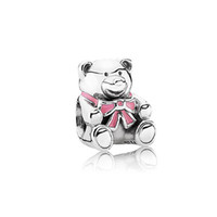 Wholesale Silver Blue Bear and Pink Bear european style charms solid sterling silver beads with threaded fashion fit european bracelets LW239A B
