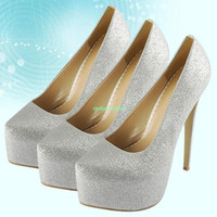 Pumps Women Stiletto Heel EU0119 Womens Ladies Glitter Platform Prom Pumps Silver High Stiletto Heels Shoes Size