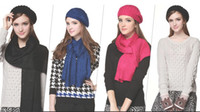 Wholesale The new pure color sequins knitting scarf joker collar couples with multicolor ladies knitting scarf lady man scarf with hat