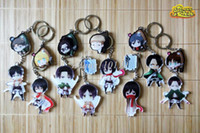 Wholesale pieces Attack On Titan Cute ver Figures Key Chain Shingeki no Kyojin Survey Corps Badge Key Ring Christmas Gifts