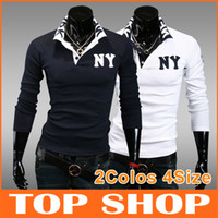 Men Cotton blended Polo Fashion Polo Mens T Shirts 2Colors M L XL XXL Long Sleeve Cotton blended Spring Autumn NY Embroidery Men FZ0028