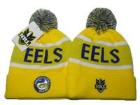 achat en gros de bonnet jaune à vendre-jaune Parramatta Eels tricot pom tuques bonnet de NRL tricot chapeaux brassard de laine pour tricoter hiver tuques de NRL de mode chapeaux de qualité supérieure en vente DD