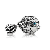 Wholesale Blue Eye Fish Beads european style charms solid sterling silver beads with threaded fashion fit european bracelets LW231