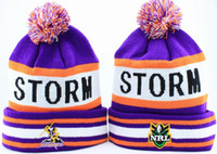 Wholesale HOT Pom beanies STORM NRL Beanies with pom High Quality Football Beanies Basketball knitting hats sport team beanies mix order cheap