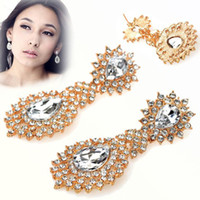 Wholesale 5pairs NEW Boho Luxury Faux Crystal Rhinestone Tassel Dangle Chandelier Long Earrings JE02070