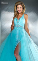 Empire Sexy Ruffle Wholesale - New Arrived Luxurious Aqua Haltered V Neckline Beaded Embellishments Bodice Lace Tulle Floor Length Gown Prom Dresses Evening Dr