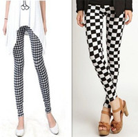 Wholesale 2013 Fashion Milk silk graffiti printing Plaid amp Check options plover stretch Houndstooth ninth leggings Pants