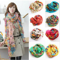 Wholesale Hot Fashion Spring and Autumn Long Scarf Womens Floral Oversized Scarves Shawl Silk Scarf a0647