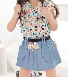 Wholesale Kids summer paragraph Korean short sleeved dress girls jeans stitching skirt