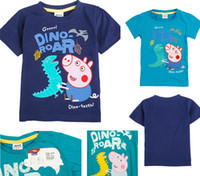 Wholesale Christmas Nova Clothing Boys Boy Peppa Pig George Pig and Dinosaur Short Sleeve T Shirt Cotton Children Cartoon Summer TShirt