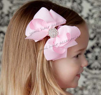Wholesale Baby Hair Accessories Multicolour Bows Fashion Barrettes Children Accessories Baby Girl Hair Bow With Sparkly Rhinestone Girls Hair Clips