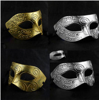 Wholesale Vintage Roman Gladiator Men s Venetian Mask Carnival Mask Golden Silver