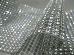 Wholesale -4.5inch 10 Yards 24 Rows Silver Wedding Decoration Diamond Mesh Roll Rhinestone Ribbon Crystal Wrap