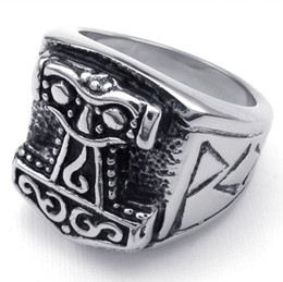 Wholesale Best Gift Men s Fashion Jewelry Punk Quake Rings Thor s Hammer Cool Finger L Stainless Steel Charming Ring High Quality