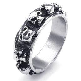 fashion silver skulls links finger rings stainless steel skull ring for men jewelry gift - Skull Wedding Rings For Men