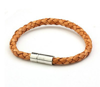 Wholesale Men s Leather Bracelet wristband Titanium Stainless steel clasp cuff Bracelets cm vintage