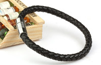 achat en gros de bracelets bon marché de gros-Mode Hommes Femmes Bracelet en cuir bracelet en titane acier inoxydable fermoir magnétique manchette Bracelets Bangle gros bijoux pas cher