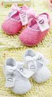 Wholesale 10 off Pure hot pink white princess shoes baby shoes toddler shoes soft soled girl shoes non slip newborn shoes pairs C