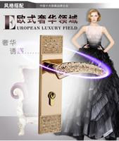 Wholesale quot Lock indoor door lock European room door lock hold hand lock wood bedroom door lock ivory white K gold