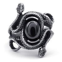 Wholesale Men Women s Silver Black Zircon rings Stainless Steel Black Mamba Polished Snake Ring Fashion Jewelry
