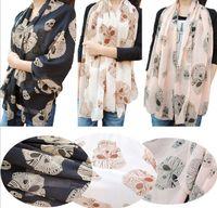 Wholesale Winter new arrival super big diamond skull printed chiffon silk scarf
