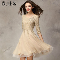 Wholesale Summer Autumn Fashion Lady Women Lace Casual Dress Elegant Chiffon Big Pendulum Sexy White Black Pink Khaki Designer Wedding Clothings