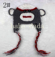 Unisex Summer Crochet Hats 3 color in stock wholesale Best price Handmade Knitted Crochet Baby Hat monkey hat with ear flap Free shipping