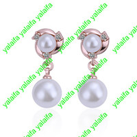 Wholesale High Quality New Fashion Jewelry Pair K Gold Plated Austrian Crystal Earring LKN18KRGPE353