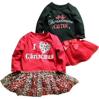 Wholesale Big Discount Girls Christmas Romper Dress Long Sleeved Infant Red amp Black Tutu Dress Skirt baby bow dress Baby One Piece amp Romper pc