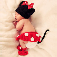 Wholesale 3pcs Minnie Girl Infant Baby Hat Skirt Shoes Crochet Knit Photo Prop Costume NEW amp