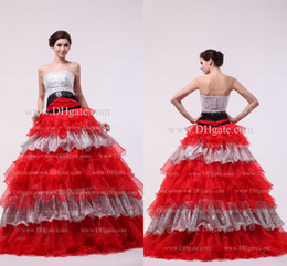 Wholesale Hot Sale Sequins Beaded Ruffles A Line Strapless Backless Sleeveless Floor Length Organza Quinceanera Dresses DH4174 get one free bracelet