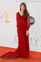 Wholesale 64th Emmys Awards Mayim Bialik Sheath Ruched Red Chiffon Long Sleeves red carpet dresses Evening Dresses
