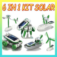 Wholesale in Fashion Solar Power Robot Assemble Toy DIY Educational Kit Boat Windmill Dog Car Plane Christmas Gifts New