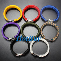 Wholesale 7 Strand Paracord Survival Bracelet Weave w Stainless Steel Shackle Buckle