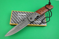 Wholesale New Browning DA52 Folding blade amp Fixed blade wood handle Cr13MOV Blade hunting pocket camping outdoor gear knife knives