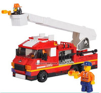 Building Plastic Blocks Free shipping--Rapid fire fire ladder truck Designers children educational toys children's toys baby toys Christmas gift