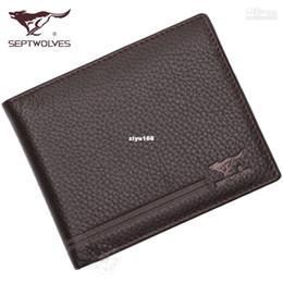 Wholesale - SEPTWOLVES wallet genuine leather male short design wallet cowhide leather wallet gift box set