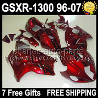 Wholesale 7gifts Fairing For SUZUKI Hayabusa GSXR dark red black GSXR1300 GSX R1300 Q449 gloss red Body
