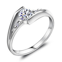 Silver silver - Aivni high quality wedding rings solid sterling silver rings use Austria crystal jz4002