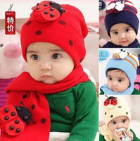 beetle boy - Suit Children s Caps Scarf Infants Winter Beetle Hats Bees Wool Baby Scarves Boys and Girls