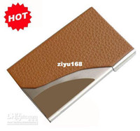 Wholesale Corporate gift Logo printing metal amp leather credit ID business name card holder case promotion gifts