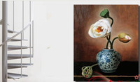 Wholesale Hand painted oil paintings frameless Chinese restaurant decorated living room entrance lotus flower still life