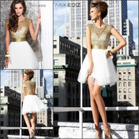 Wholesale New Sexy Short Prom Dresses Gold Beads Tarik Ediz Party Dresses College Junior Homecoming Dresses Graduation Dresses Gowns for Cocktail