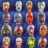 Wholesale New Arrival Festive supplies Halloween masks the whole person Funny horror mask with hair rubber grimace DHL