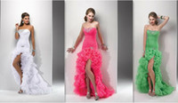 Wholesale Ladies Fashion Custom Made New Mermaid Hi Lo Cocktail Dresses Sweetheart Organza Fabric Crystals Beaded Ruffle Court Train Lace Up Back Hot