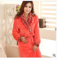 Wholesale New winter leopard coral velvet mink cashmere thick red and yellow women s pajamas robe bathrobe