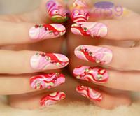 Wholesale 2set fashion D flower beauty nail accessories optional acrylic nail art false fake nail tips long nail stickers bridal nail color chosen