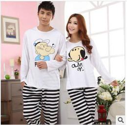 Wholesale Spring and autumn men and women Popeye cartoon couple long sleeved striped pajama suit tracksuit M L XL XXL size pajamas