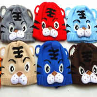 Wholesale 10pcs Winter Boys Girls Children Hats Baby Wool Caps Winter Warm Protect Cartoon Tiger Knit Cap Christmas Promotions
