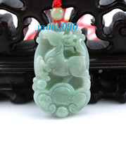 Wholesale Amulet real Natural green jade Zodiac Horse charm Pendant necklace